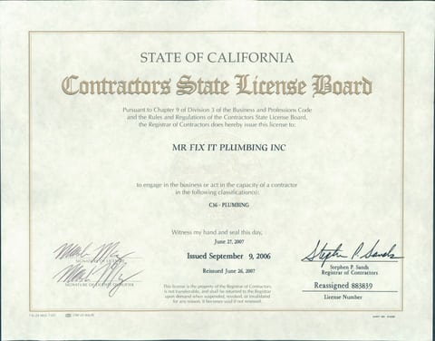 Long Beach Plumber State Contractor S License Mr Fix It Plumbing
