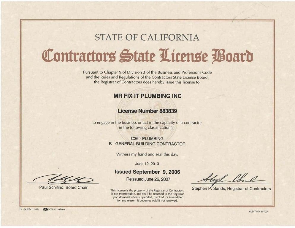license contractor contractors plumbing general california easy beach steps dream build fix mr does